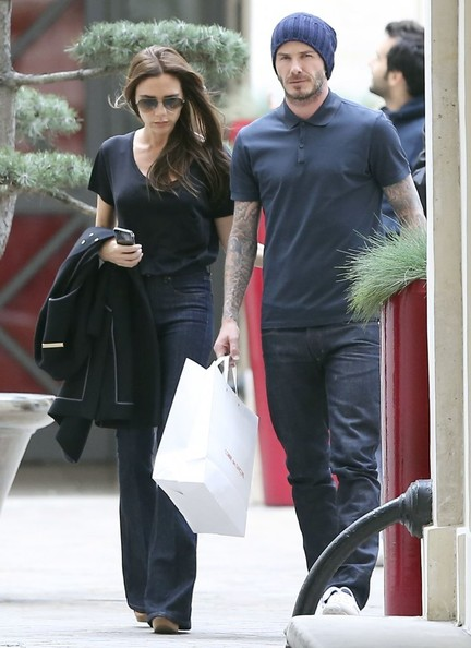 David and Victoria Beckham shop at 'Bonpoint' and 'Comme des Garcons' stores with their sons in Paris, France on May 4, 2013.