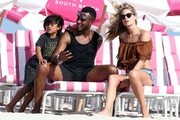 Model Doutzen Kroes and her husband Sunnery James go to the beach with their son Phyllon and daughter Myllena Mae Gorré on January 1, 2017 in Miami, Florida. The group enjoyed getting some sun, playing with a soccer ball and then wading in the ocean.