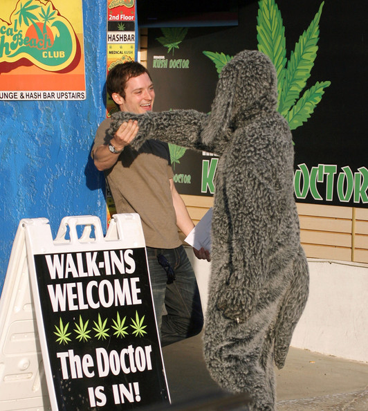 Actor Elijah Wood and Jason Gann seen on the set of an upcoming TV pilot 'Wilfred' on the beach in Venice Beach, CA. Jason is dressed up in a dog suit and seen smoking a joint. Elijah and Jason check out chicks and ride around on a bike before Elijah goes and gets a medical marijuana card. Elijah can be seen hitting a bong inside the medical office.