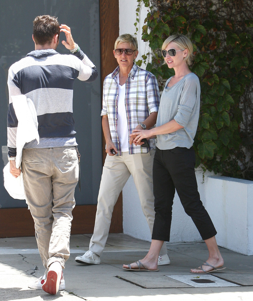 Portia De Rossi New Hair: Ellen & Portia Step Out In West Hollywood