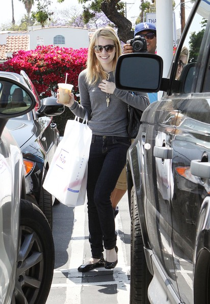 Actress Emma Roberts is pictured shopping at Fred Segal in Hollywood, CA.