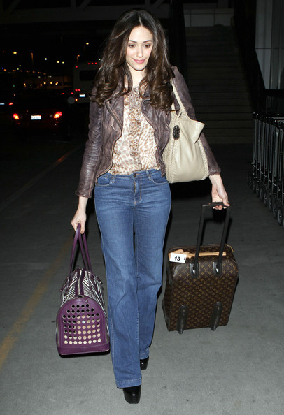 Emmy Rossum Arriving For A Flight At LAX