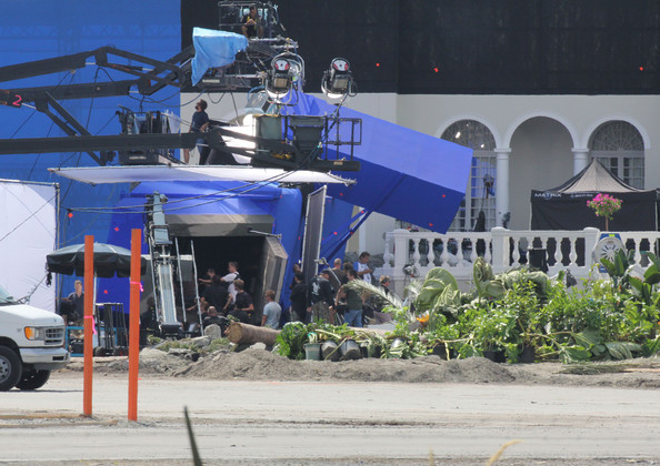 "General views show the set of ""Elysium"" in Vancouver where they've built a giant house."