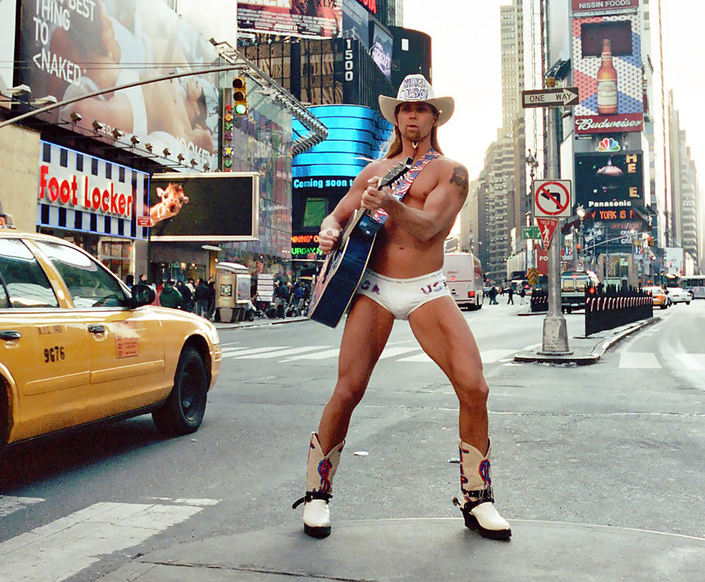 The Naked Cowboy announces his bid for New York Citys