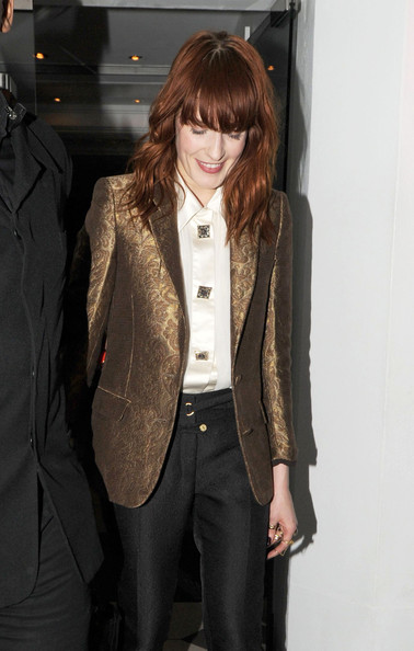 Singer Florence Welch (of Florence and the Machine) leaves the Embassy Club on January 12, 2012 in London, UK.