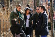 Stars film scenes for the hit TV show 'Glee' at Washington Square Park in New York City, New York on March 14, 2014.<br /> Pictured: Chris Colfer, Darren Criss, Kevin McHale, Chord Overstreet, Lea Michele