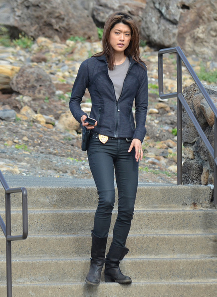 grace park on the set of hawaii five o in this photo grace park ...