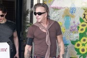 Gray Haired Mickey Rourke Out For Lunch In Beverly Hills