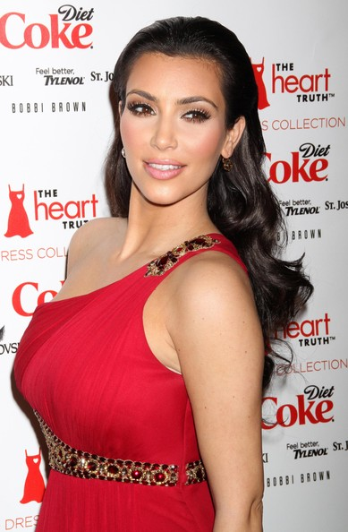 Kim+Kardashian in Heart Truth Red Dress Fashion Show