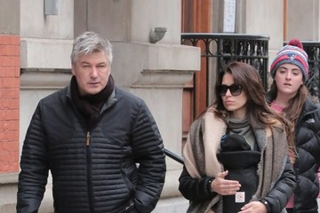 Hilaria Baldwin Alec Baldwin and Hilaria Baldwin Step Out With Their Newborn Son Leonardo in NYC