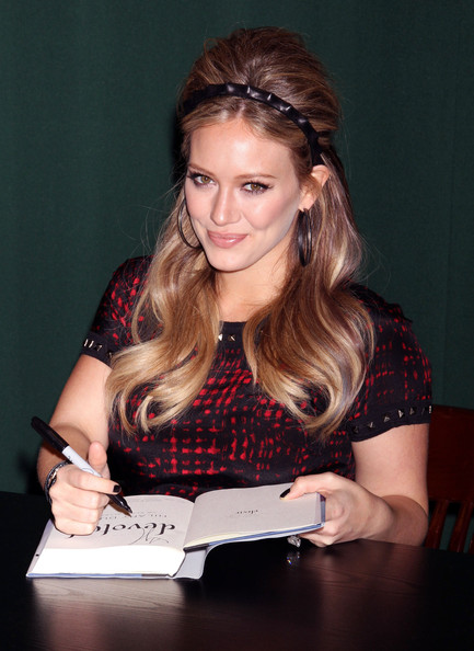 "Hilary Duff Pregnant actress Hilary Duff signs copies of her book ""Devoted"" at Barnes & Noble in New York City, NY."