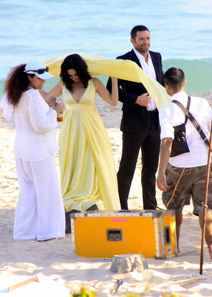 Australian actor Hugh Jackman was seen at Grumari beach, in Rio de Janeiro, shooting some scenes for a commercial for which he had to kiss a Brazilian actress. The 'Wolverine' star talked to his family, wife Deborah-Lee, and kids Ava and Oscar. They were enjoying the sun and the beach while Jackman was working. The actor and family are staying at luxury Copacabana Palace hotel.