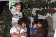 Jack Black and wife Tanya Haden take their sons Samuel and Thomas out for dinner at the California Pizza Kitchen in Sherman Oaks on November 20, 2012.