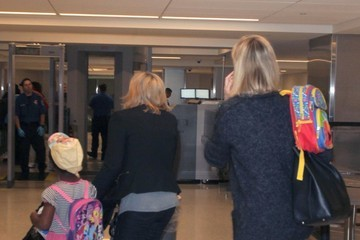 Jackson Theron Charlize Theron and Kids Depart on a Flight at LAX
