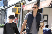 """""""30 Rock"""" actor James Marsden and his son Jack pick up coffee and food in New York City, New York on October 1, 2012."""