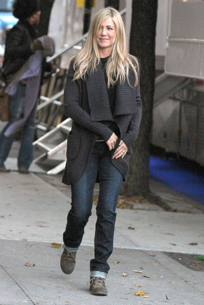 "Actress Jennifer Aniston leaves the ""Wanderlust"" set in New York City, NY."