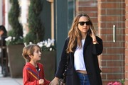 Jennifer Meyer Stops By The Nail Salon With Her Son