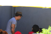'Dallas' actor Jesse Metcalfe having lunch at Lemonade in West Hollywood, California on August 28th, 2012. He spots 'Dallas' costar Jordana Brewster and her sister Isabella and stops by their table to say hello.