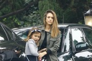 Actress Jessica Alba takes her daughter Honor Warren to a party in Beverly Hills, California on October 30, 2016.
