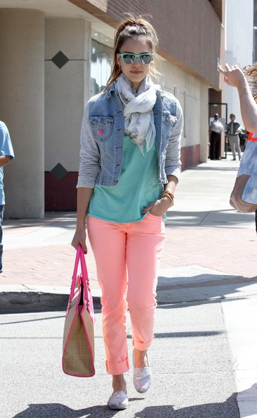 Actress Jessica Alba was a throwback to the 90s as she sported denim on top with some retro colors while out for lunch with a friend in Beverly Hills, California on May 22, 2012.
