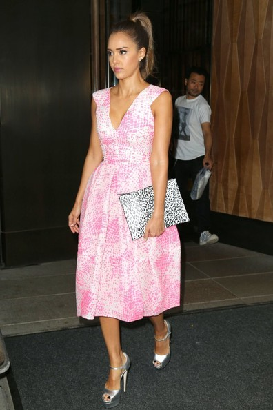Jessica Alba leaves her hotel and heads to ABC Studios on August 12, 2014 in New York City, New York. Alba recently opened up about her feelings when she turned 30.