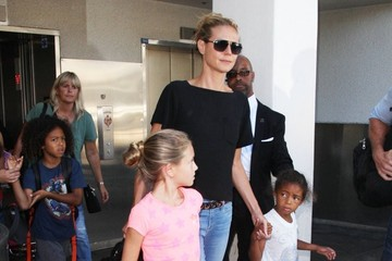 Johan Samuel Heidi Klum Touches Down at LAX