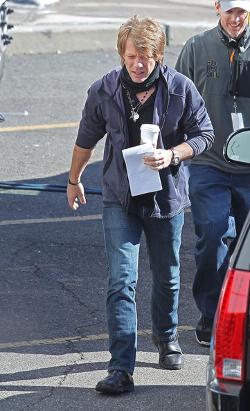 Jon Bon Jovi walks back to his trailer after filming scenes for 'New Year's Eve' in Brooklyn.