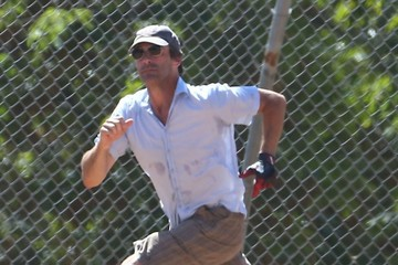 Jon Hamm Jon Hamm Plays Baseball with Friends in Los Angeles