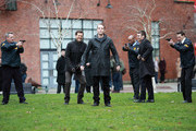 Actor Joshua Jackson joined co-stars Seth Gabel and David Call on set of hit TV series Fringe in Vancouver, British Columbia, Canada on March 12, 2012.