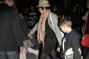 Rafferty Law Jude Law And Family Arriving On A Flight At LAX