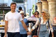 Dancer Julianne Hough and her fiance Brooks Laich take their family shopping at the Grove in Hollywood on April 15, 2016.