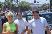 'Safe Haven' actress Julianne Hough was spotted out with a job with her brother Derek Hough and fiance Brooks Laich go for a jog.  The group got a quick work out in around Pulse studio in Los Angeles, California on July 9, 2016.  Julianne's hair was out of control, but the actress was all smiles.