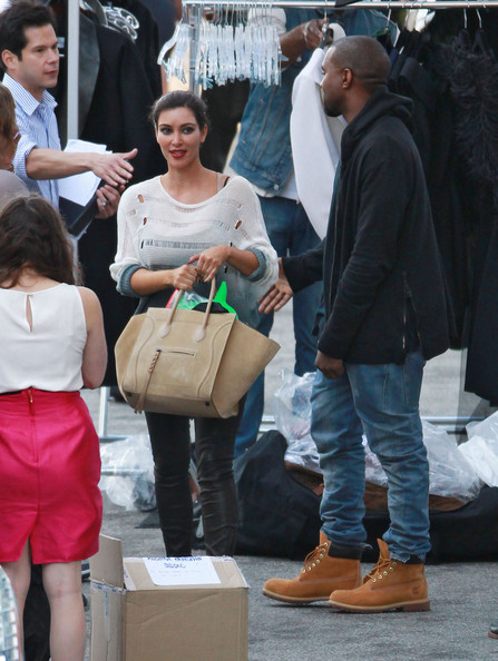 Kanye West - Exclusive? Short-Haired Kim Kardashian Kisses Kanye Then Works Hard On Set