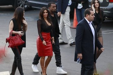 Kanye West Kendall Jenner Kim Kardashian Attends 'X-Factor' Taping With Her Sisters And Boyfriend