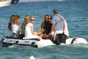 Jean-Yves Le Fur Karen Mulder And Lou Doillon At Club 55 In St. Tropez