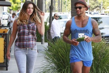 Kelly Brook Kelly Brook and David McIntosh Out for a Stroll