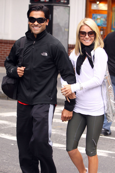 Kelly Ripa and husband Mark Consuelos after her TV show where Mark was her guest host. Today is Kelly's 39th birthday and Mark spent the afternoon helping her celebrate it. He took her to a midtown gym for 2 hours before heading home.