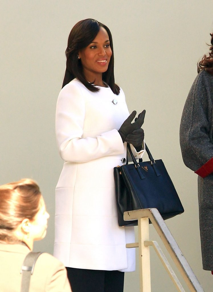 Actress Kerry Washington films scenes for the hit TV show 'Scandal' in Los Angeles, California on December 9, 2013.