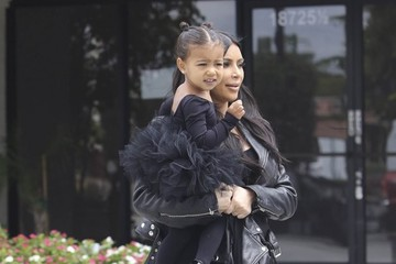 Kim Kardashian Kim and Kourtney Kardashian Take Their Daughters to Dance Class
