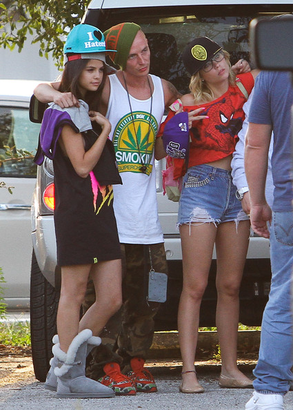 Exclusive: The cast and crew of ?Spring Breakers? checked out the latest costumes in Miami, Florida on March 27, 2012. Male co-star James Franco who had what looked to be platinum teeth joined Selena Gomez, Ashley Benson and Vanessa Hudgens.