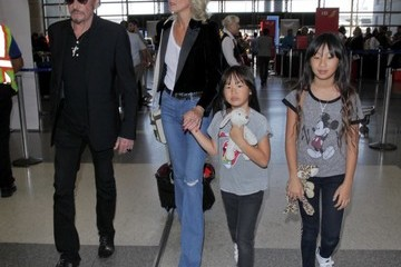 Laeticia Hallyday Johnny Hallyday Departing On A Flight At LAX