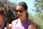 Lea Michele Hikes with a Friend