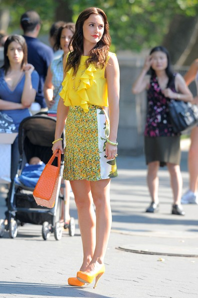 "Actress Leighton Meester films a scene of ""Gossip Girl"" on the  upper east side of New York City."