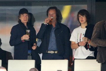 Lucas jagger Mick Jagger and Son Lucas Atttend a Soccer Game in France