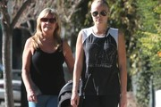 'Trophy Wife' actress Malin Akerman out for a walk with her son Sebastian and her step mom in Los Feliz, California on December 27, 2013.