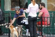 Fashion designer Marc Jacobs seen with ex-fiance Lorenzo Martone having lunch at Sant Ambroeus in West Village and walking their dogs in New York, New York on April 28, 2013.