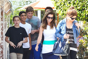 Maria Shriver and her kids Christina and Patrick out for lunch with some of Patrick's friends in Brentwood, California on May 5, 2012.