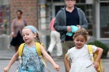 Marion Broderick Matthew Broderick Walks His Girls to School