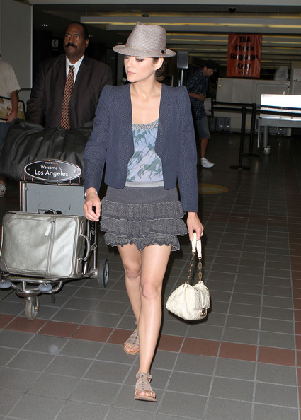 Actress Marion Cotillard arrives at LAX airport on the eve of the