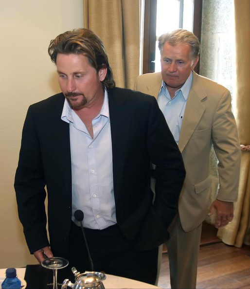 Actors Martin Sheen and his son Emilio Estevez at a business meeting with ...